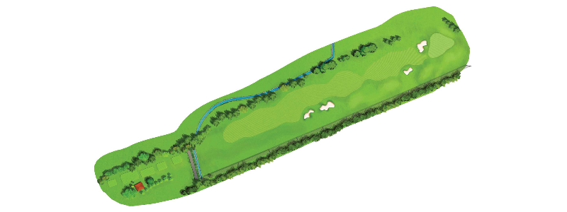 This is a challenging hole as the twin dangers of OB on the right and a Nalla on the left, makes driving accuracy of paramount importance. Large twin bunkers on the right around the landing area add to the degree of difficulty. It is important to take a little more time to concentrate and to ensure that your drive is not wayward. Once you get your drive in, the 2nd shot need not be more than an 8 Iron and the green, barring a left side pin position should not pose too much of a problem. A birdie would be welcome but a par is more than satisfactory.