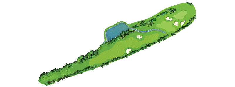 A difficult hole to par with water left, OB right and a green