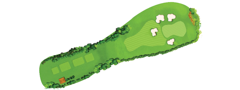 A medium length par 3, the well guarded green slopes from right