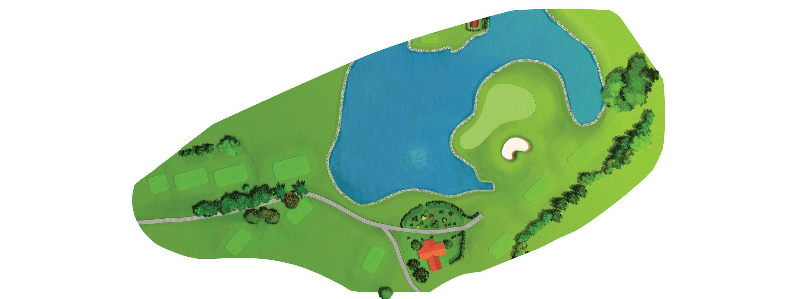 A scenic signature hole, where the difficulty level depends on