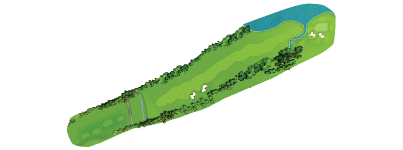 This 600+ yard par-5 demands a 3 shot strategy for most. On
