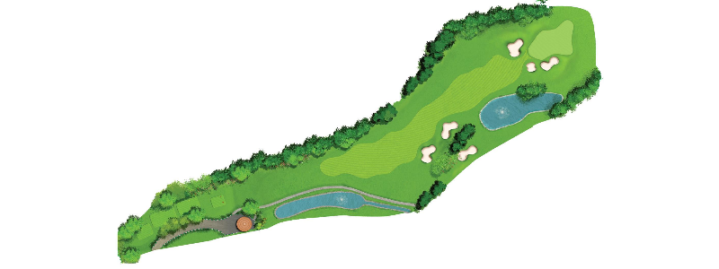 This hole is a dog-leg left with OB along the left drain.