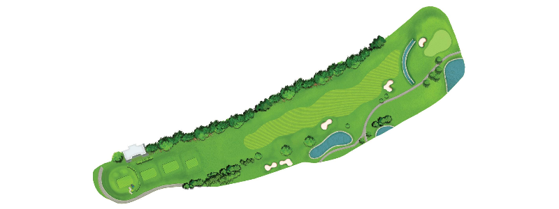 This fairway curves left with OB beyond the tree-line left. From