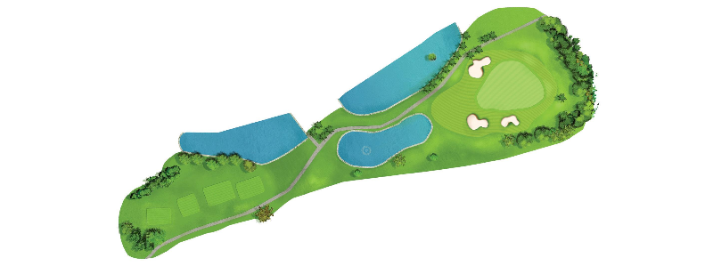 A longish par 3, with water left and short. The green is well