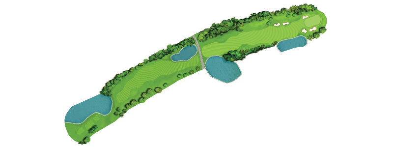 This 600 yard par-5 curves to the right with water awaiting an