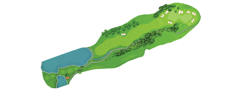 A challenging hole, call for a drive of around 260 yards to allow a