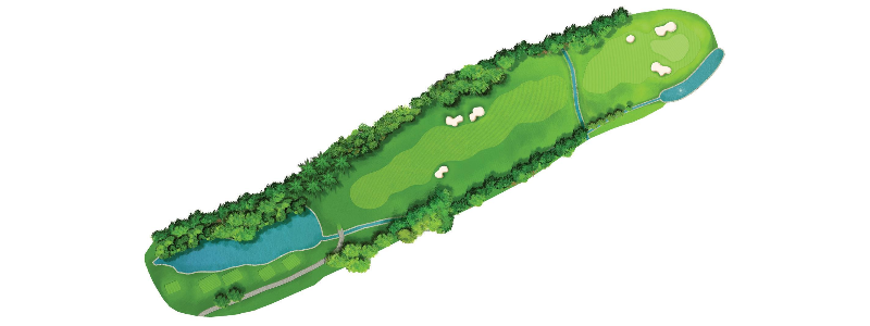 A tough finishing hole, this par-4 demands a 270+ yard drive